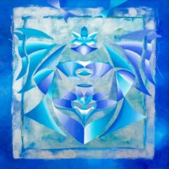 Intuïtief schilderij - Zilver met blauwe ufo