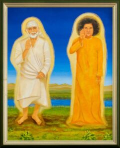 Sri Sathya Sai Baba en Sri Shirdi Sai Baba schilderij